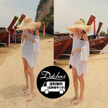 Cable Knit Casual Style U-Neck Plain Medium Puff Sleeves