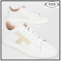 TOD'S Casual Style Studded Leather Low-Top Sneakers