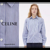 CELINE Stripes Casual Style Bi-color Long Sleeves Cotton Medium