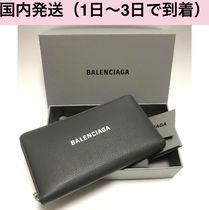 BALENCIAGA EVERYDAY TOTE Unisex Street Style Plain Leather Long Wallets