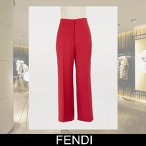 FENDI Silk Plain Long Cropped & Capris Pants