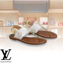 Louis Vuitton Monogram Open Toe Leather Elegant Style Shoes