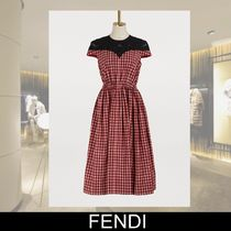 FENDI Crew Neck Gingham Flared Cotton Medium Short Sleeves