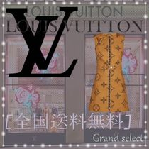 Louis Vuitton Monogram Sleeveless Cotton Medium Elegant Style Dresses
