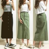 Casual Style Plain Cotton Long Maxi Skirts