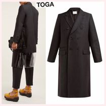 TOGA Wool Blended Fabrics Plain Medium Office Style Parkas