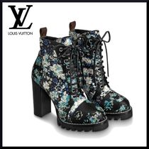 Louis Vuitton Flower Patterns Plain Toe Leather Block Heels Elegant Style