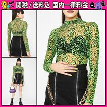 DOLLS KILL Leopard Patterns Casual Style Long Sleeves Tops