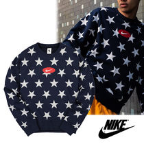 Nike Crew Neck Star Street Style Long Sleeves Sweatshirts