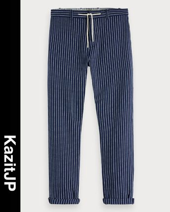 Printed Pants Stripes Linen Patterned Pants