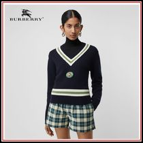 Burberry Casual Style V-Neck Long Sleeves Sweaters