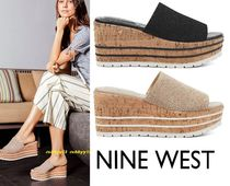 Nine West Open Toe Casual Style Suede Plain Platform & Wedge Sandals