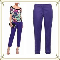 Emilio Pucci Plain Cotton Long Elegant Style Skinny Pants