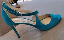 Jimmy Choo Open Toe Suede Plain Pin Heels Elegant Style