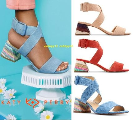 Casual Style Plain Leather Chunky Heels Sandals