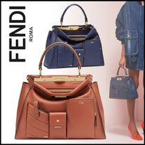 FENDI PEEKABOO Calfskin 2WAY Plain Elegant Style Handbags