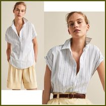 Massimo Dutti Casual Style Plain Medium Short Sleeves Shirts & Blouses