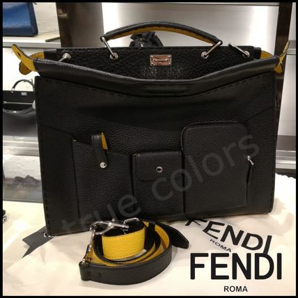 FENDI Business & Briefcases Calfskin 2WAY Plain Business & Briefcases