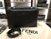FENDI SELLERIA 3WAY Plain Leather Crossbody Bag Logo Business & Briefcases