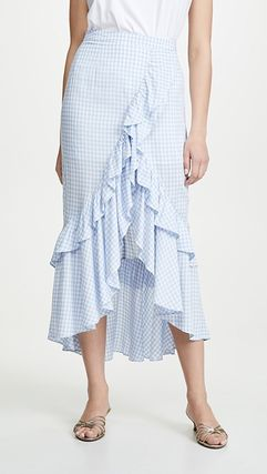 Gingham Casual Style Maxi Long Maxi Skirts