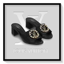 Louis Vuitton Open Toe Blended Fabrics Plain Block Heels Elegant Style