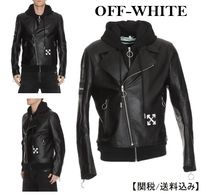 Off-White Short Unisex Blended Fabrics Street Style Plain Leather