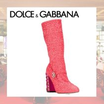 Dolce & Gabbana Round Toe Casual Style With Jewels Chunky Heels