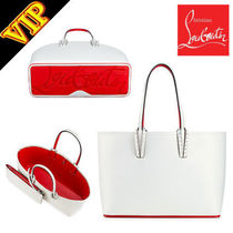 Christian Louboutin Calfskin Studded 2WAY Bi-color Elegant Style Totes