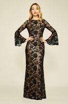 TADASHI SHOJI Long Sleeves Long Party Style Lace Dresses