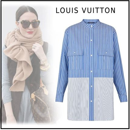 Louis Vuitton Shirts & Blouses 2019-20AW STRIPE OVERSIZED SHIRT blue 34-40 shirt
