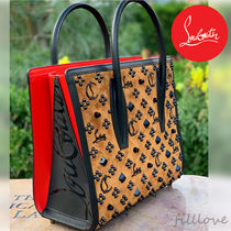 Christian Louboutin Paloma Leopard Patterns Calfskin Blended Fabrics Studded 2WAY
