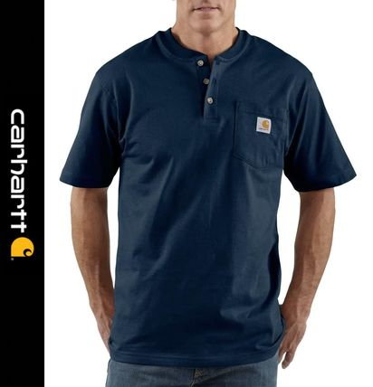 Carhartt Henley Henry Neck Street Style Short Sleeves Logo Henley T-Shirts