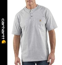 Carhartt Henry Neck Street Style Short Sleeves Henley T-Shirts