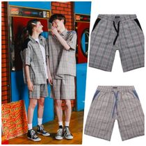 WV PROJECT Gingham Unisex Denim Street Style Denim & Cotton Shorts