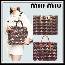 MiuMiu Blended Fabrics 2WAY Chain Leather Totes