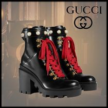 GUCCI Platform Studded Leather Ankle & Booties Boots