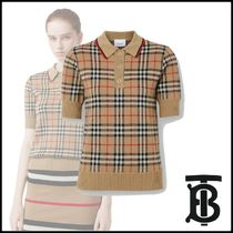 Burberry Tartan Wool Short Sleeves Polo Shirts