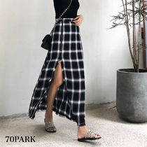 Tartan Casual Style Street Style Long Maxi Skirts