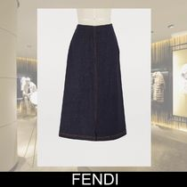 FENDI Heart Casual Style Plain Cotton Medium Midi Skirts