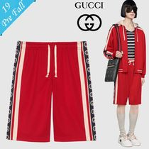 GUCCI Stripes Monogram Nylon Joggers Shorts