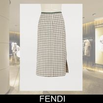 FENDI Pencil Skirts Gingham Wool Medium Elegant Style