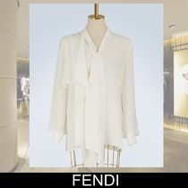FENDI Long Sleeves Plain Medium Elegant Style Focused Brands