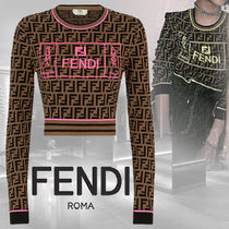 FENDI Crew Neck Short Long Sleeves Cropped