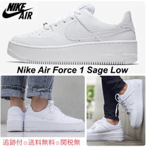 Nike AIR FORCE 1 Round Toe Lace-up Casual Style Street Style Plain Leather