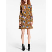 Louis Vuitton Monogram Silk Long Sleeves Dresses