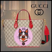 GUCCI GG Supreme Monogram Unisex 3WAY Other Animal Patterns Totes