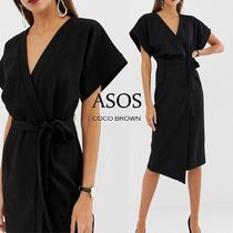 ASOS Wrap Dresses V-Neck Plain Medium Short Sleeves Party Style