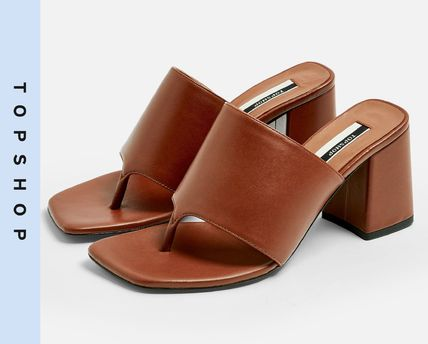 Casual Style Leather Block Heels Heeled Sandals