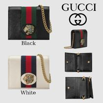 GUCCI Stripes Leather Folding Wallets