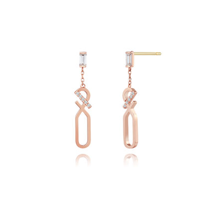 Chain With Jewels 14K Gold Elegant Style Earrings
